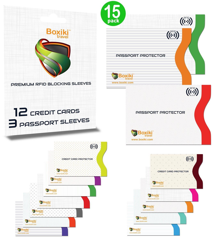 wei/ß Boxiki Travel RFID-Schutzh/üllen 3/Reisepassh/üllen 15-teiliges Set mit Farbecodierung Ultimativer Diebstahlschutz 12/Kreditkartenh/üllen