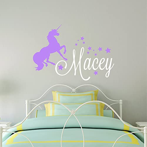 Custom name unicorn wall decal girls personalized name unicorn wall sticker custom name sign