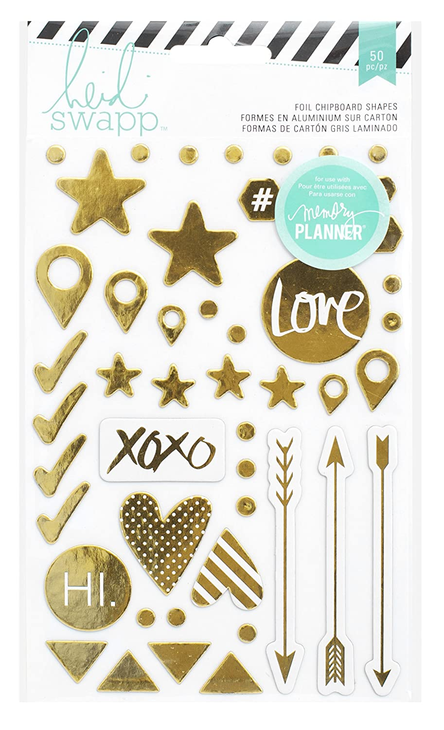 Heidi Swapp Hello Beautiful Foil Chipboard Shapes American Crafts 369961