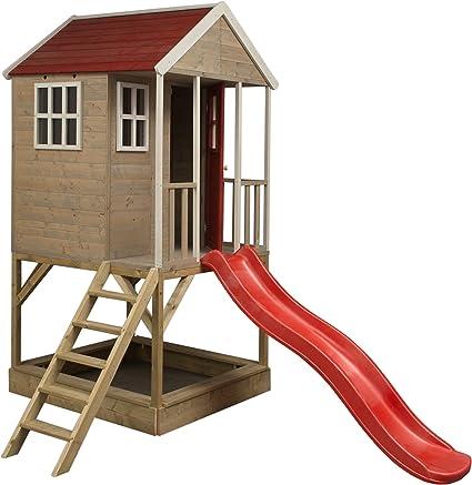 Nordisches Kinderspielhaus Auf Platform Kinder Holz Garten