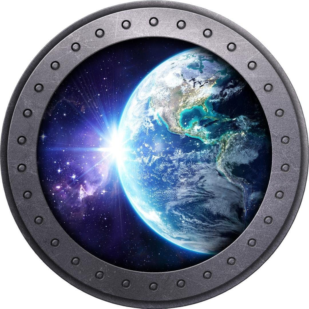 """18"""" Portscape Earth #3 Porthole 3D Window Wall Decal Removable Wall Sticker Space Planets Solar System Wall Kunst Kids Bedroom Decor"""