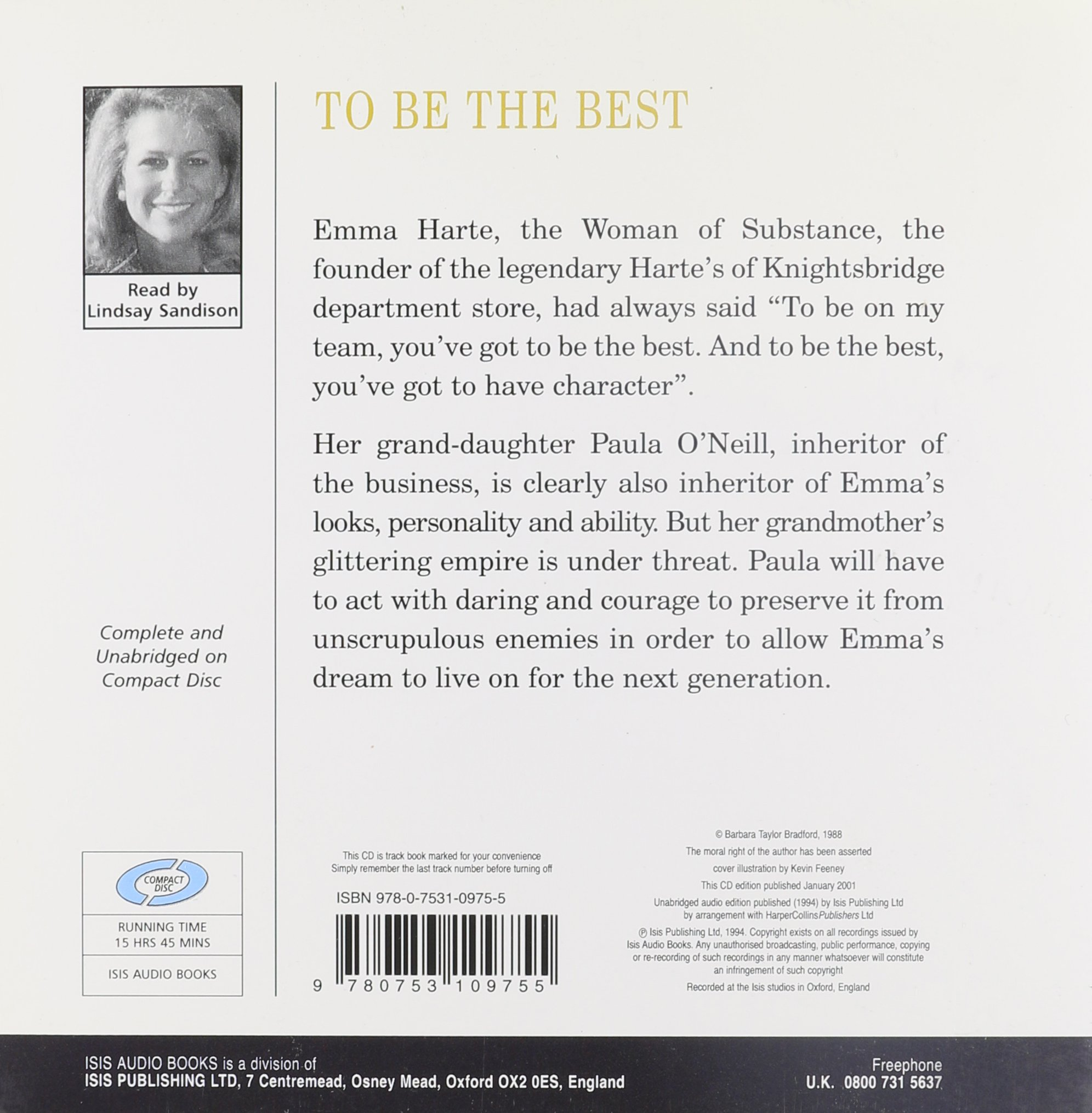 To Be The Best (isis): Barbara Taylor Bradford, Lindsay Sandison:  9780753109755: Amazon: Books