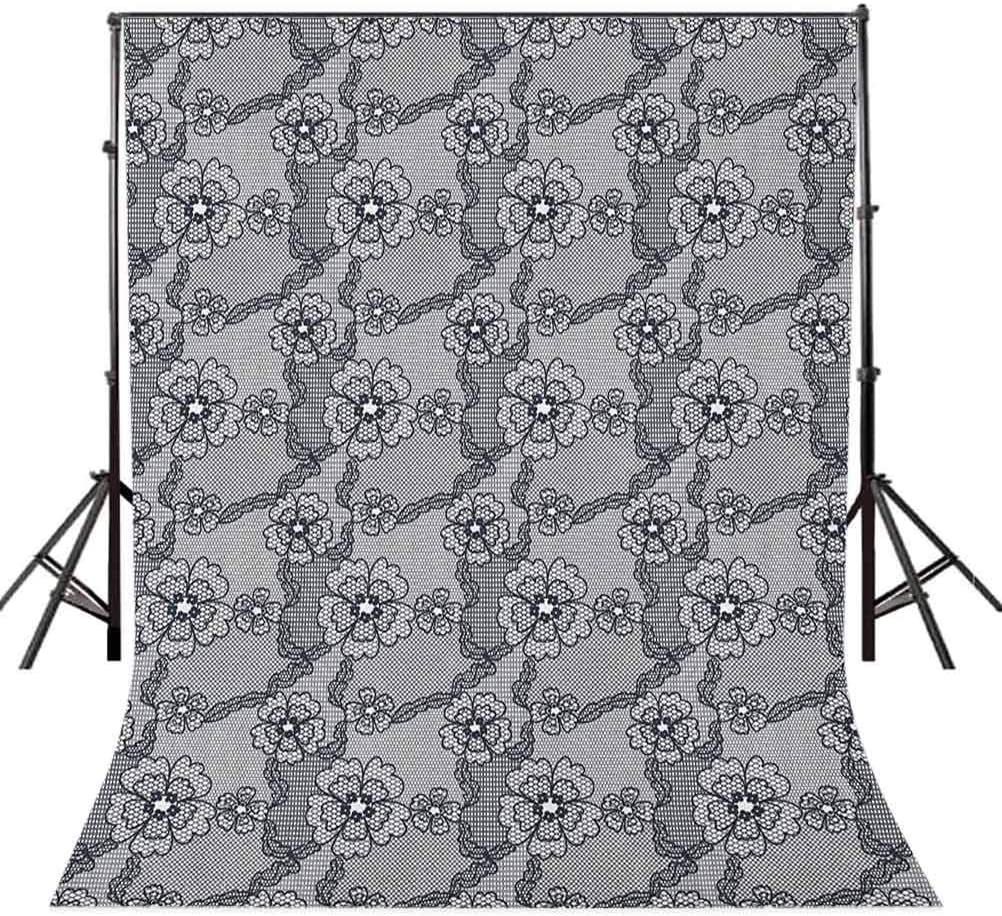 8x12 FT Vinyl Photography Background Backdrops,Black Lace Style Pattern with Blossoms Victorian Gothic Flowers Bridal Print Background for Graduation Prom Dance Decor Photo Booth Studio Prop Banner