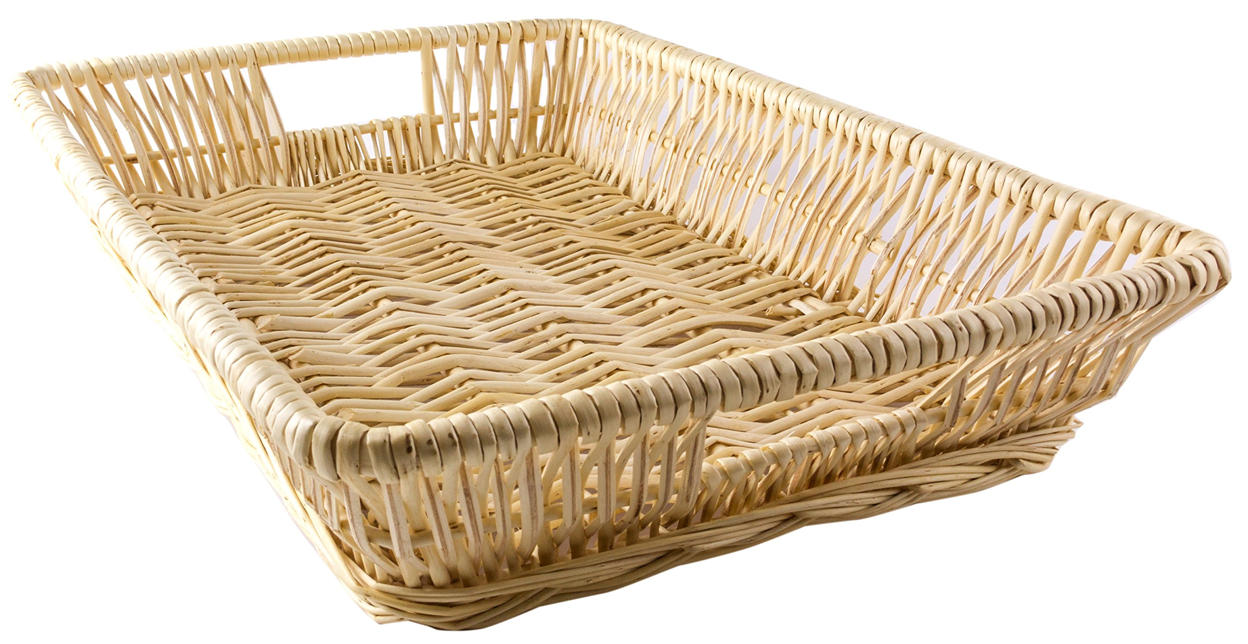Natural Willow File/Serving Tray with Carved Handles - 14 x 10 x 3 Inches