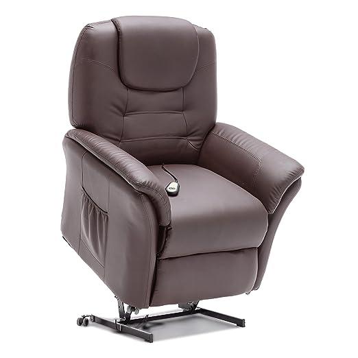 Sillón reclinable eléctrico de piel Windsor, de More4Homes ...
