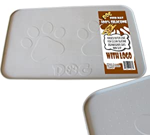 """iPrimio Dog Feeding Mat with Paw Logo. Premium FDA Silicone (Gray/Brown - 22"""" X 14"""") Perfect Size. Hygienic and Safe for Allergic Dogs. Dishwasher Safe. Aniti Spill Edge. No Slip"""