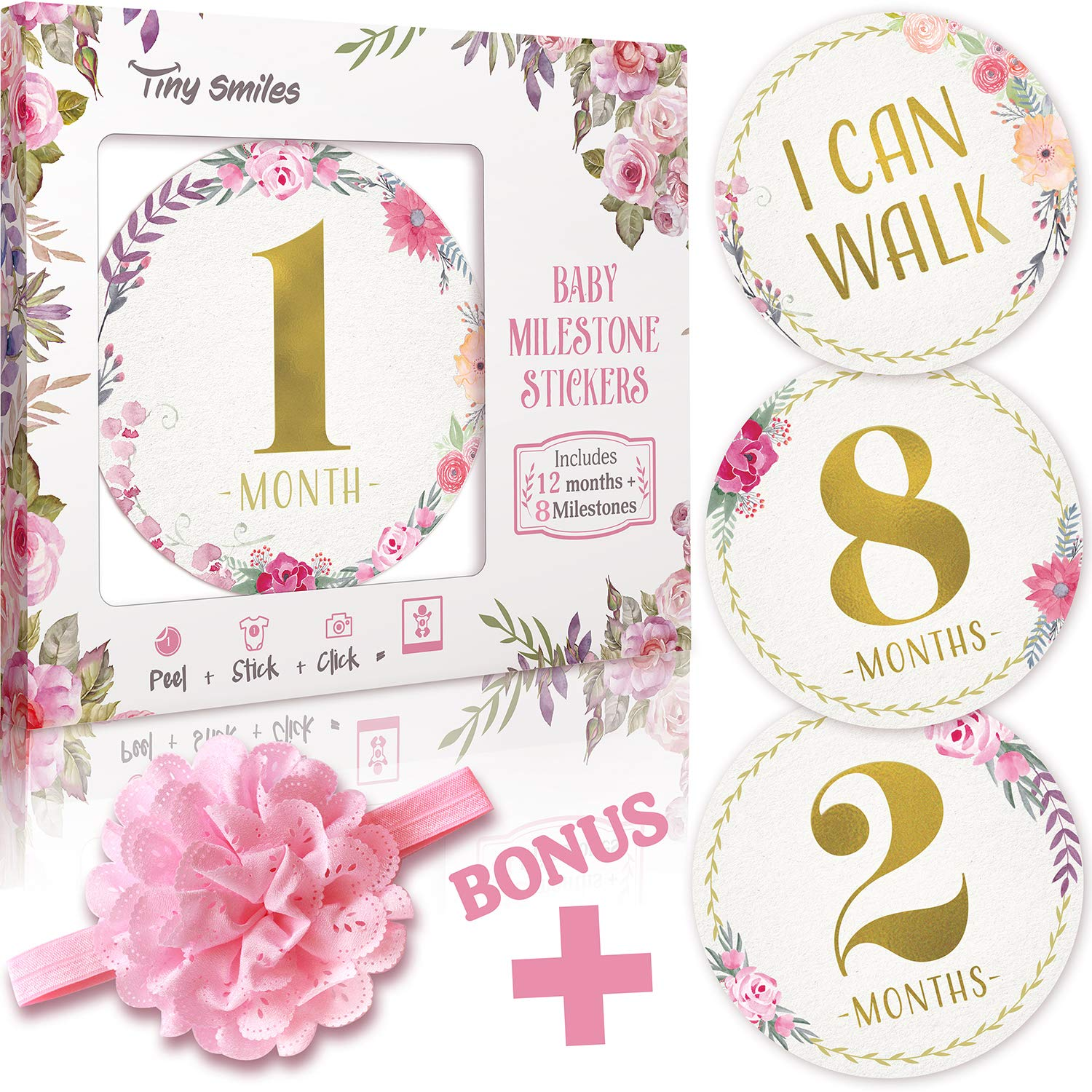 Baby Monthly Milestone Stickers (Free Headband) 20 Premium Floral Metallic Gold Stickers for First Year - 0 to 12 Month Onesie Belly Stickers - Best Baby Shower Gift or Scrapbook Photo Keepsake by Tiny Smiles