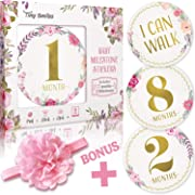 Baby Monthly Milestone Stickers (Free Headband) 20 Premium Floral Metallic Gold Stickers for First Year - 0 to 12 Month Onesie Belly Stickers - Best Baby Shower Gift or Scrapbook Photo Keepsake