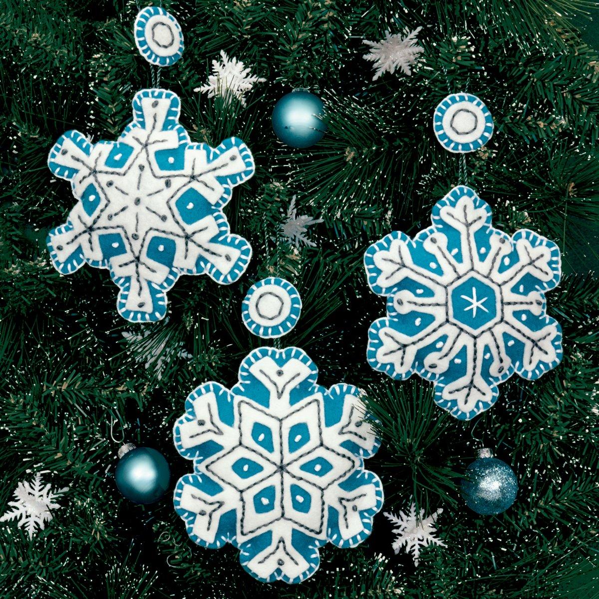 ornament Flurries Set Of 3 Dimensions Felt Applique