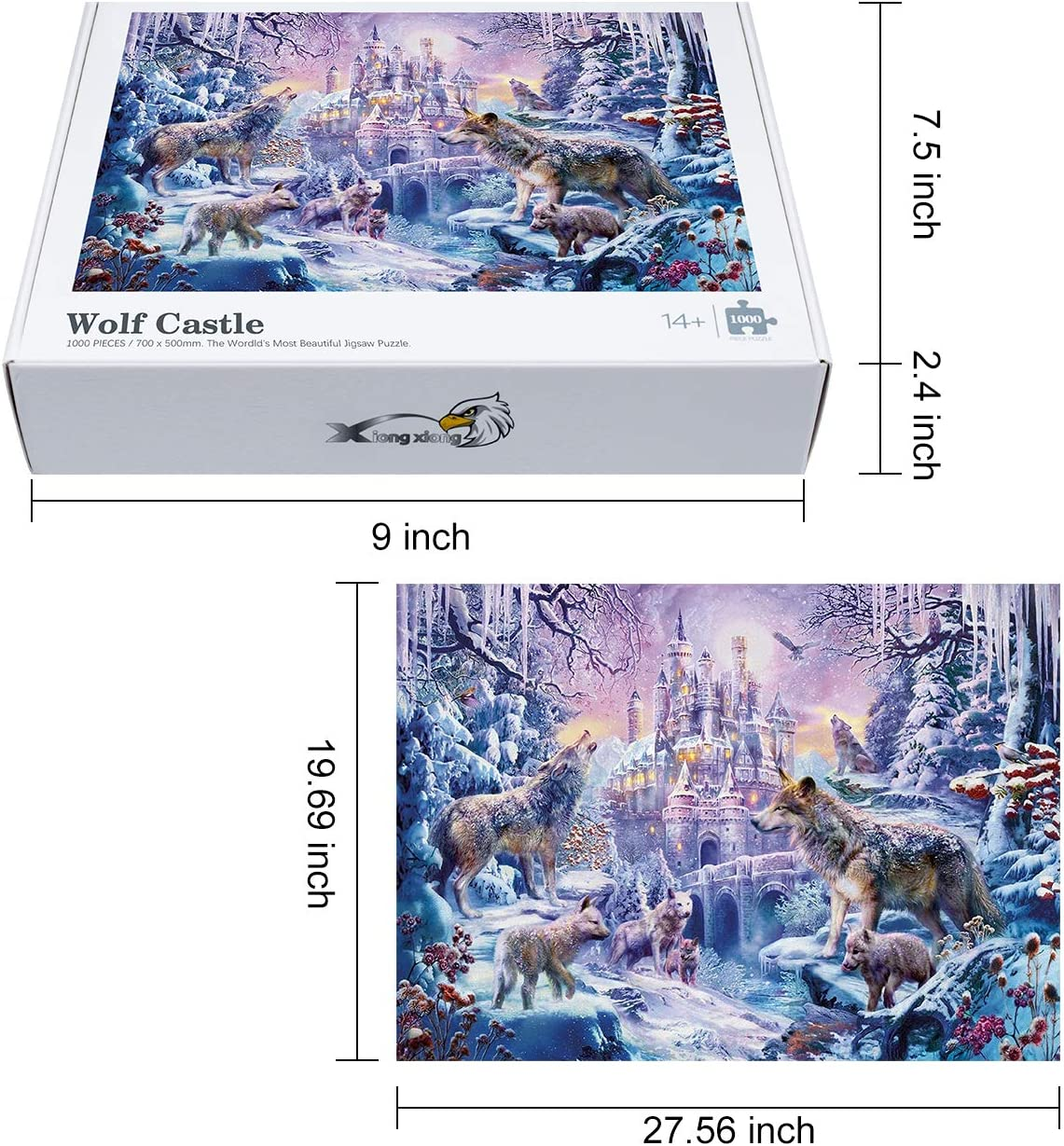 Wolf Castle Large Challenging Puzzle Game Suitable for Age 14+ Enhancing The Ability of Imagination and Practice 27.56 x 19.69 1000 Pieces Jigsaw Puzzle