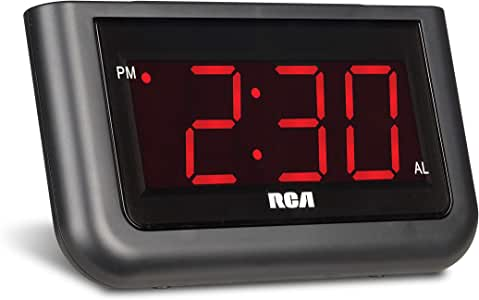 """RCA Digital Alarm Clock - Large 1.4"""" LED Display with Brightness Control and Repeating Snooze, AC Powered –  Compact, Reliable, Easy to Use"""