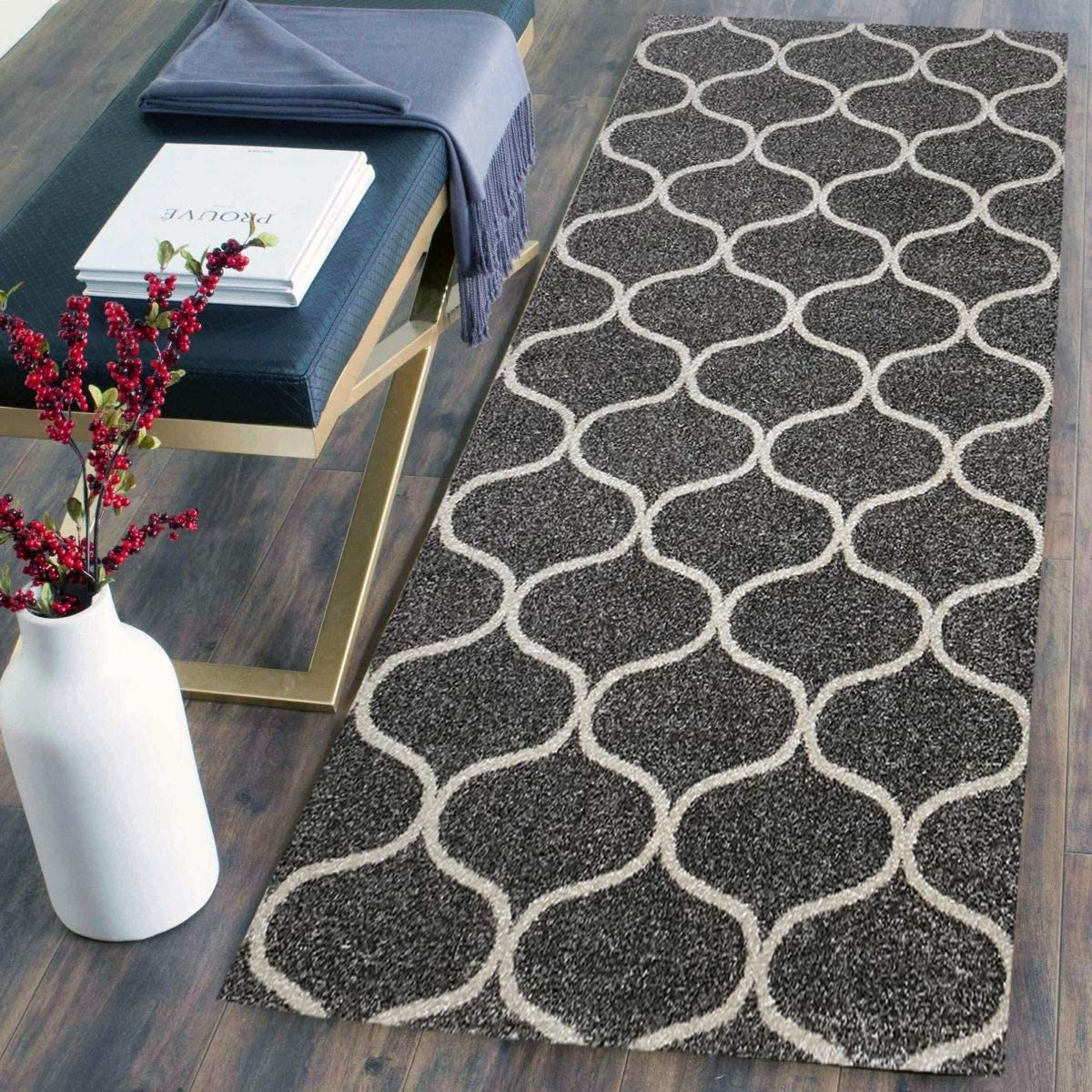 Pyramid Decor COSI Collection Easy Clean Stain and Fade Resistant Grey Ottoman Area Rug for Bedroom Kitchen Dining Living Room, Modern Geometric Space Design Size 2 X 5 Feet
