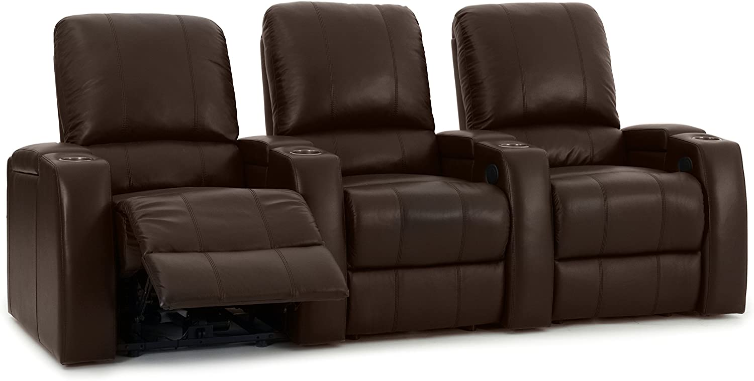 Amazon Com Octane Storm Xl850 Home Movie Theater Chairs Brown Premium Leather Motorized Recline Straight Row Of 3 Seats Kitchen Dining