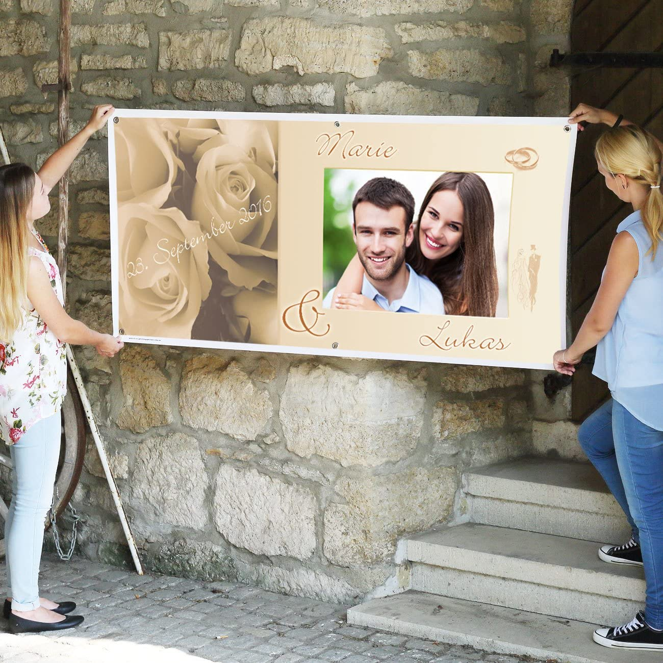 Cera /& Toys/® Riesen Hochzeitsbanner mit Namen des Brautpaares Datum 0,80 x 1,60 m und Ihrem Wunschbild Kunststoff