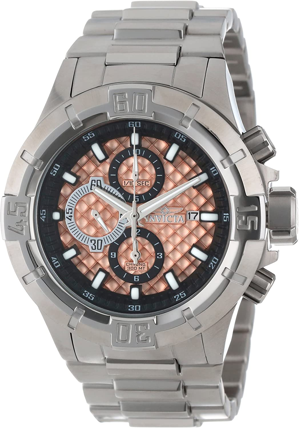 Invicta Men s 12369 Pro Diver Chronograph Rose Textured Dial Stainless Steel Watch