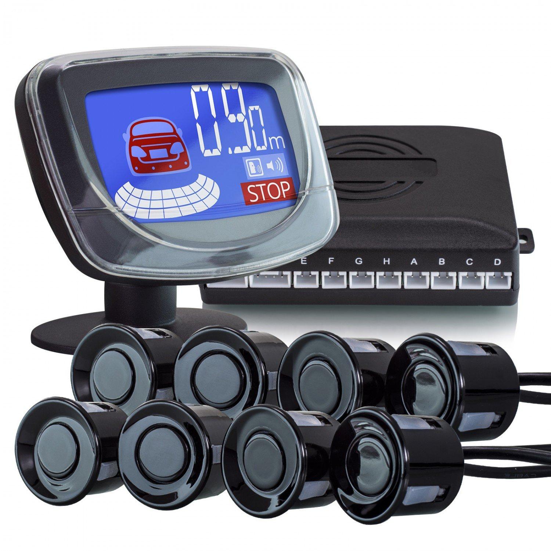 XOMAX XM-PS02 8 Park-Sensoren fü r KFZ / Wohnmobil inkl. 2,2 Zoll LCD Bildschirm + mit Bildschirm und Tonausgabe + Premium Kit + 2,2 m Abtastungsdistanz + intelligente akustische Abstandsanzeige + Farbanzeige: rot, blau + Tonausgabe ü ber Bildsch
