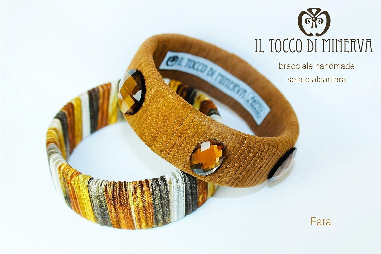 Pulseras de seda marrón y alcántara Fara hecho a mano Made in Italy