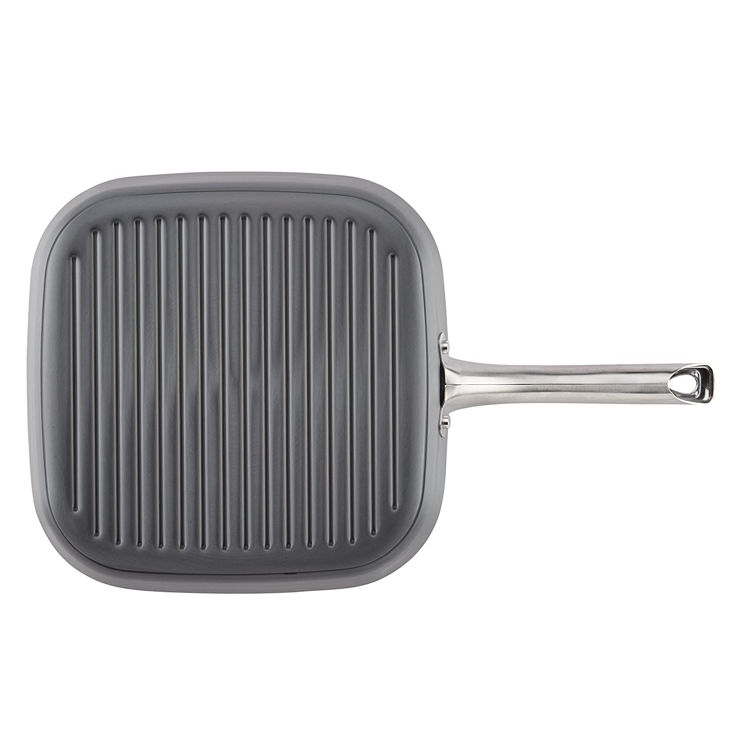 Ayesha Curry 80266 Hard Anodized Aluminum Deep Square Small Gray Grill Frying Pan