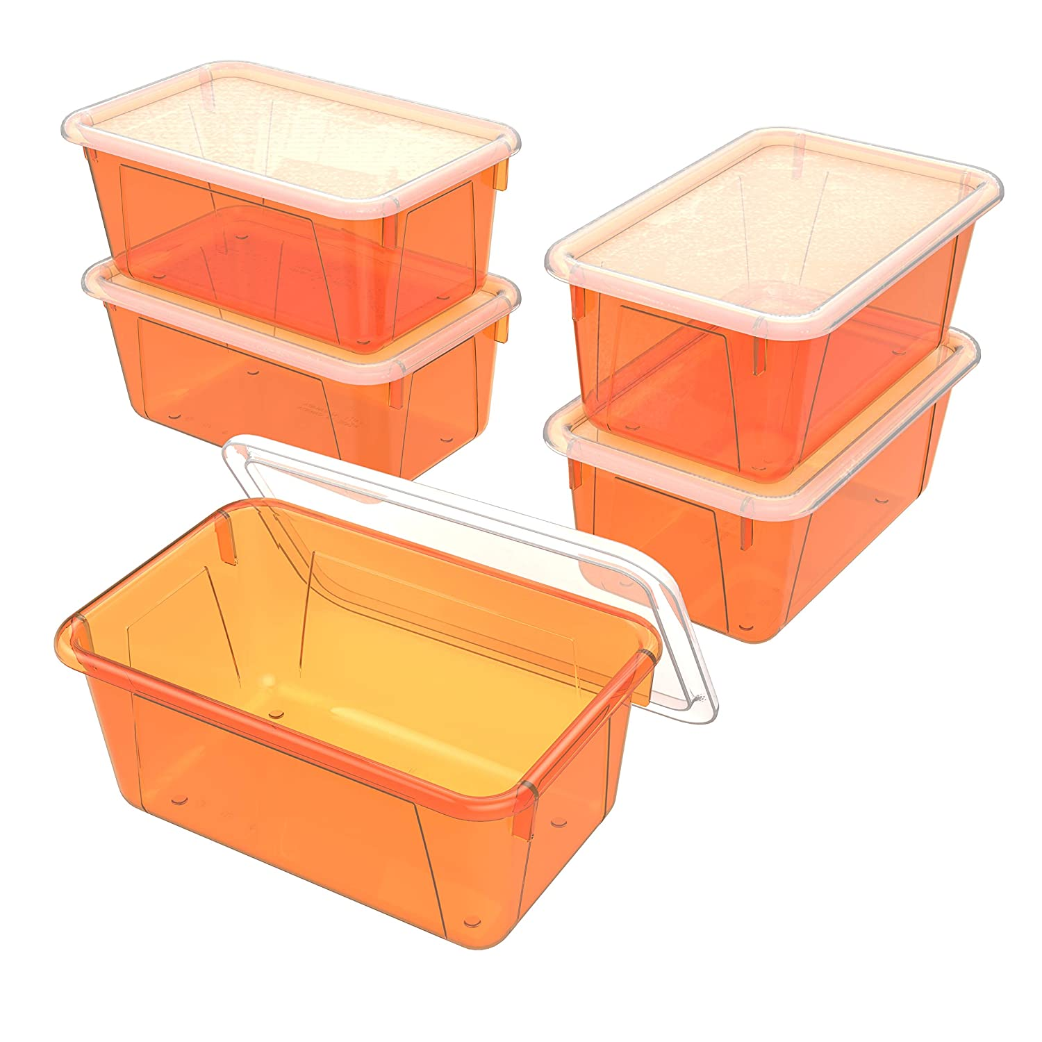Storex Small Cubby Bin with Cover, 8 x 12 x 5 Inches, Tint Orange, 5-Pack (62485U05C)
