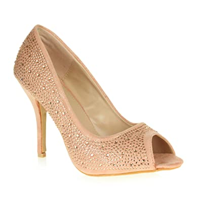 Ladies Womens Courts Shoes High Stiletto Heel Slip On Evening Diamante Size
