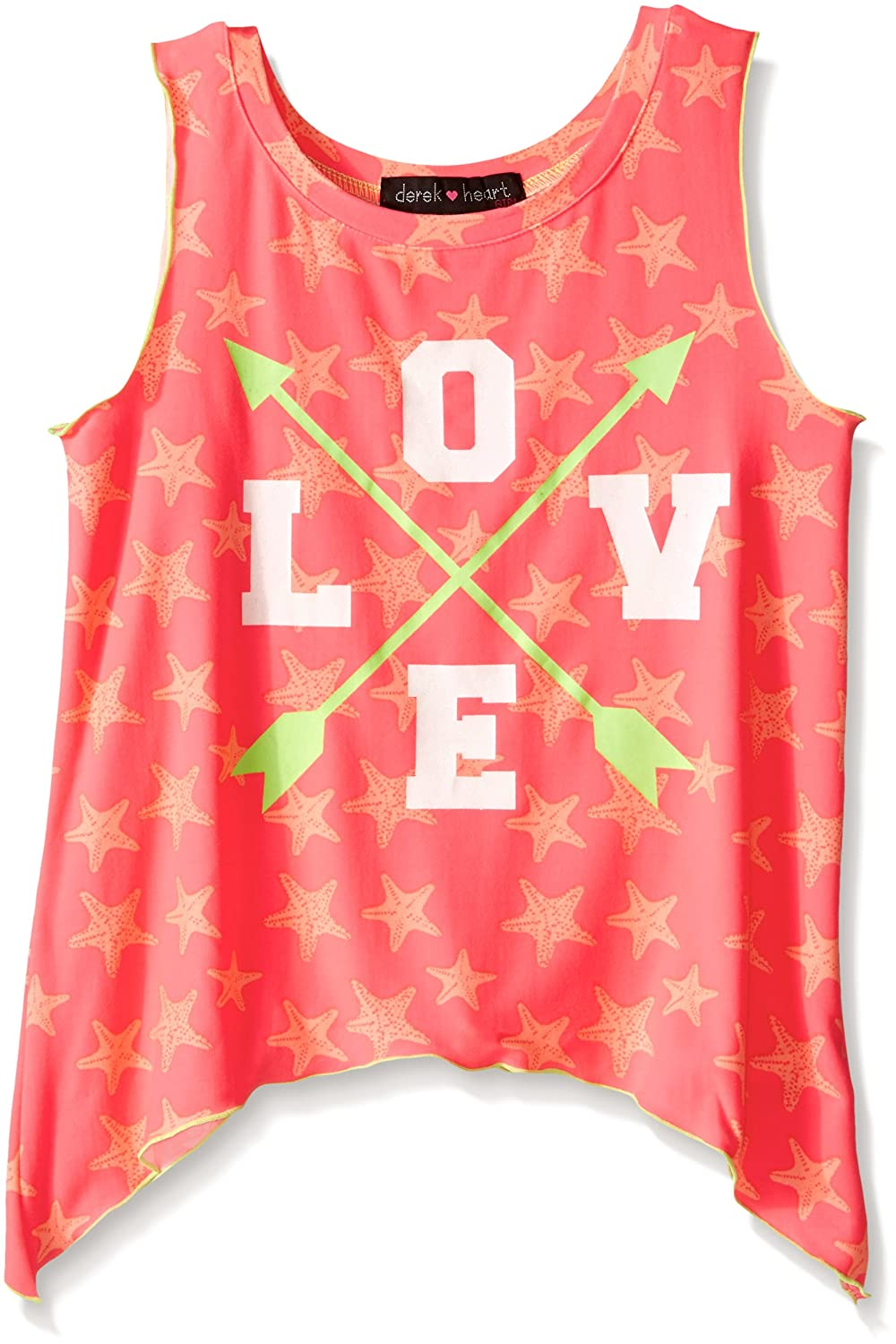 Derek Heart Girls Big Printed Sharkbite Tank W//cf Artwork W//Glitter
