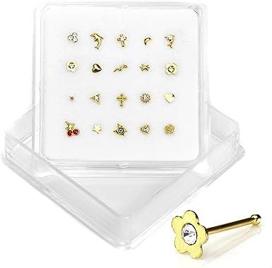Pack de Surtido de 20 Piercings para Nariz en Oro de 9 Quilates de Diferentes Formas - Cierre de Bola: Amazon.es: Ropa y accesorios