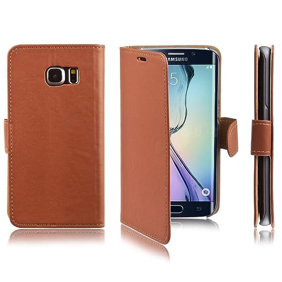 12379d15561 Xcessor Flip Open Funda de Piel PU Plástico Para Samsung Galaxy S6 edge SM-G925F.  Monedero Cartera Carcasa de Cuero con Cierre Magnético.
