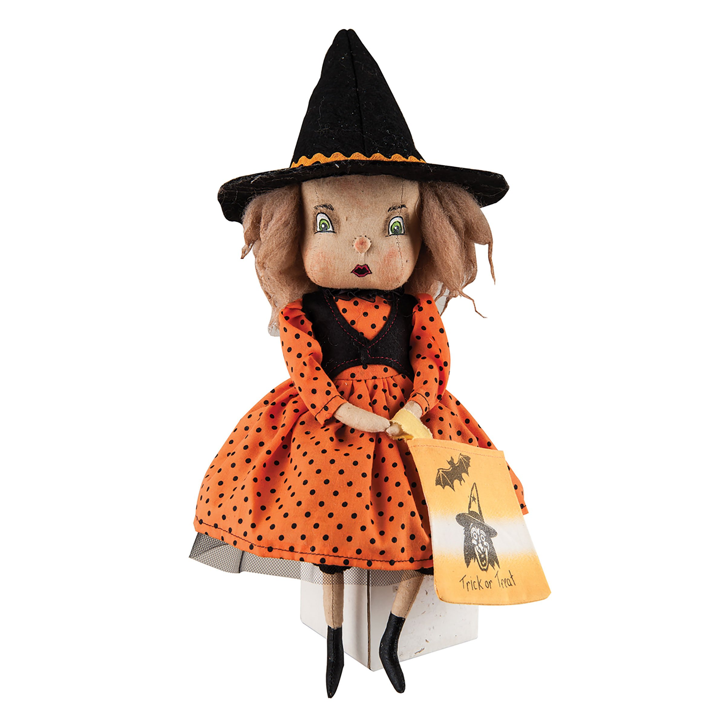 Holiday Decor Felicity Witch Girl Fabric Hand Painted Figurine with Intricate Detailing