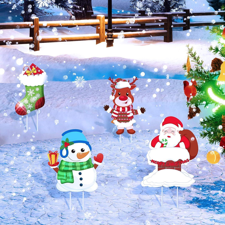 4 Pieces Christmas Yard Signs Stakes Decorations Outdoor Lawn Garden Decor with Santa Snowman Elk Christmas Stocking Designs and 8 Pieces Stakes for Xmas Outdoor Decor