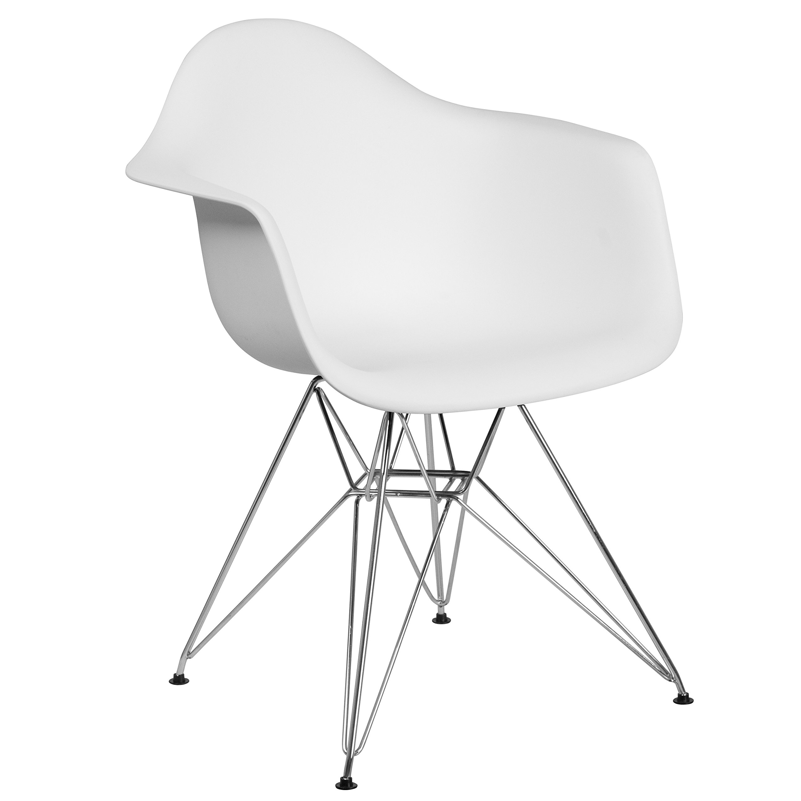 Flash Furniture Alonza Series White Plastic Chair with Chrome Base