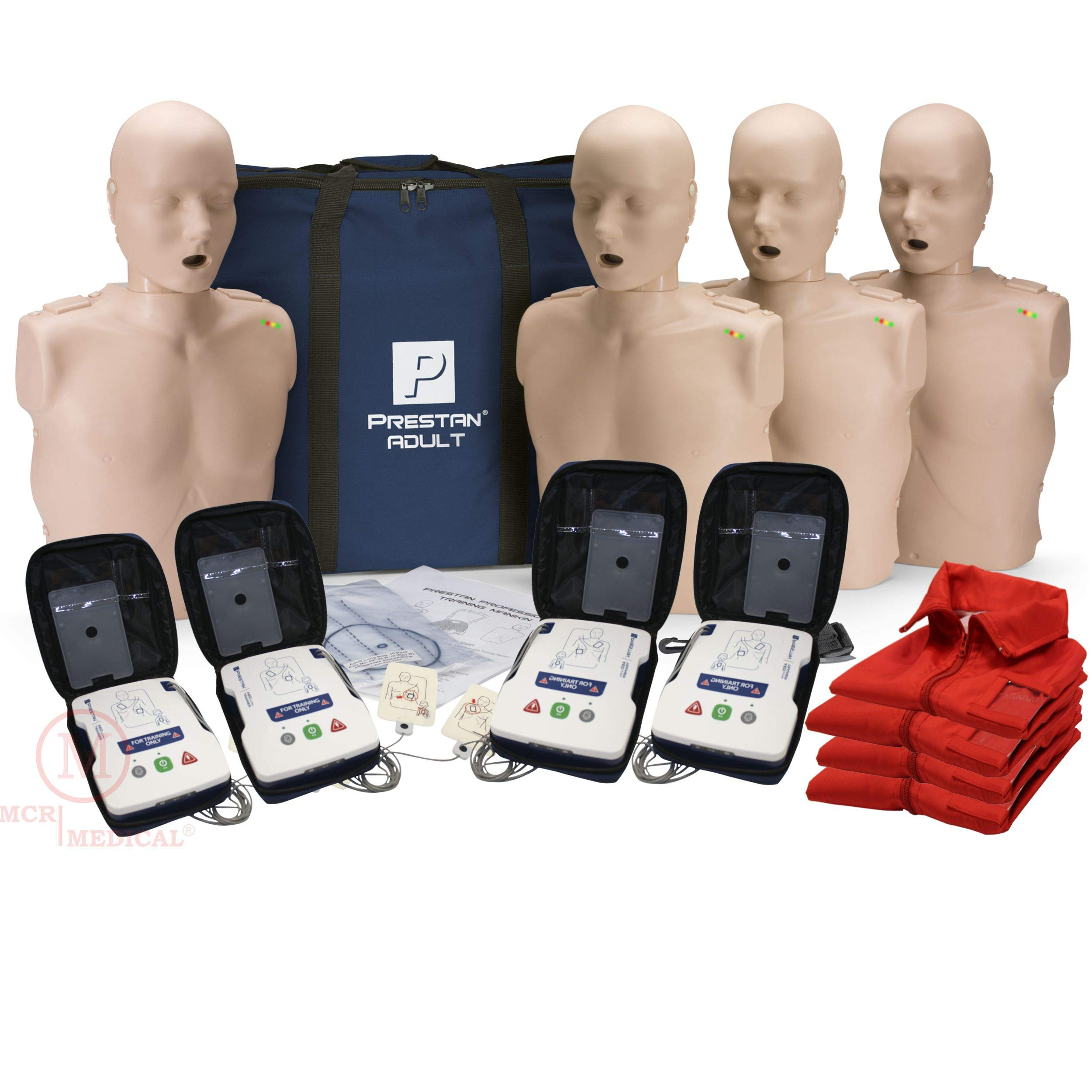 CPR Adult Manikin 4-Pack w. Feedback, AED UltraTrainers, and MCR Accessories