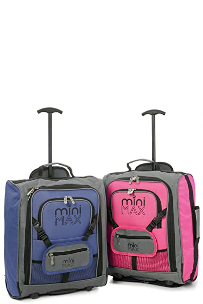 Aerolite Minimax Childrens/Kids Luggage Carry on Trolley Suitcase with Backpack and Pouch for Your Favourite Doll/Action Figure/Bear - Blue + Pink