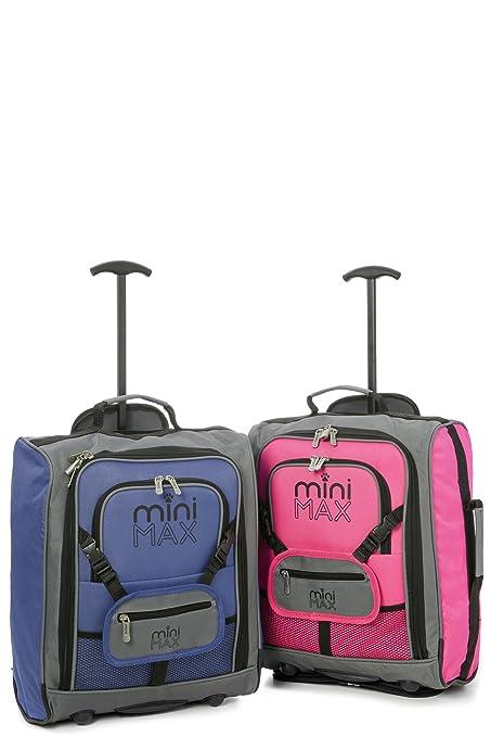 7f2c13274 Minimax Equipaje infantil niños cabina de equipaje maleta trolley con la  mochila y la bolsa para su favorito juguetes / muñecas / peluches (Azul +  Rosa)