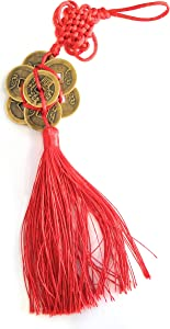 M.V. Trading Feng Shui Tassel with 8 Chinese Coins for Auspicious Money Luck with Flower Shape