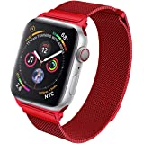 HILIMNY Strap Compatible with apple watch 38MM 40MM, Milanese sport Loop, Stainless Steel Mesh Band, Compatible with iWatch Series 4, Series 3 Series 2 Series 1 (38MM 40MM, Red)
