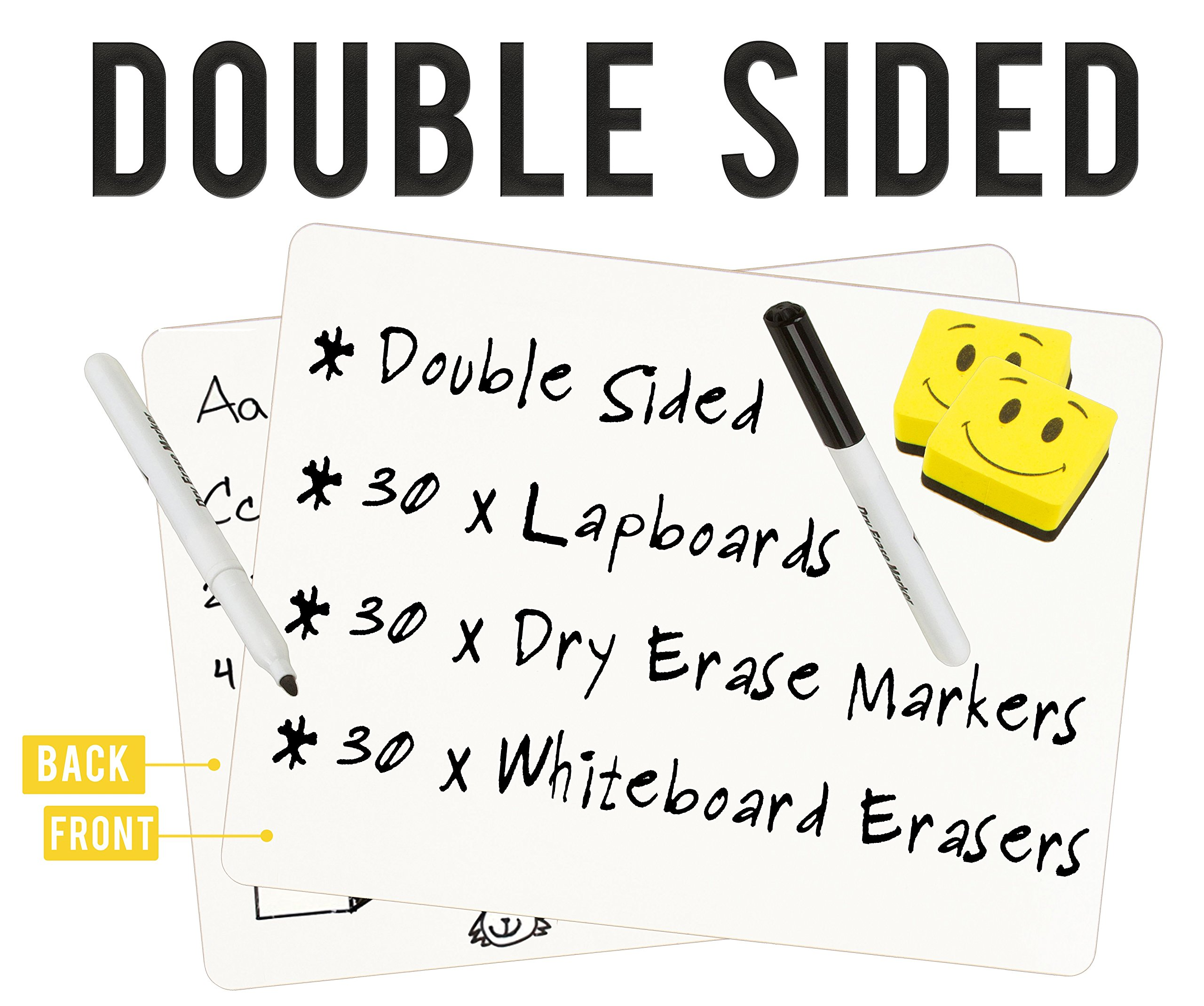 "DOUBLE SIDED Dry Erase Lapboards Pack Bulk Includes 30 Pcs 9 x 12"" Inch Mini Small Whiteboards With Erasers and Markers For School Students Write Large Classroom Drawing Interactive Office Supplies by Dapper Display (Image #2)"