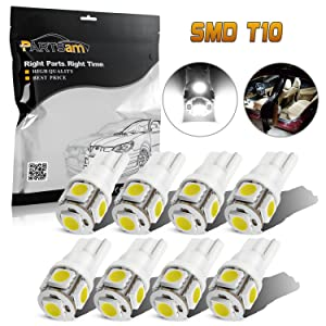 Partsam T10 LED Light Bulbs 194 168 175 2825 Lights for Car Interior Dome Map Door Courtesy Light-White(8Pcs)