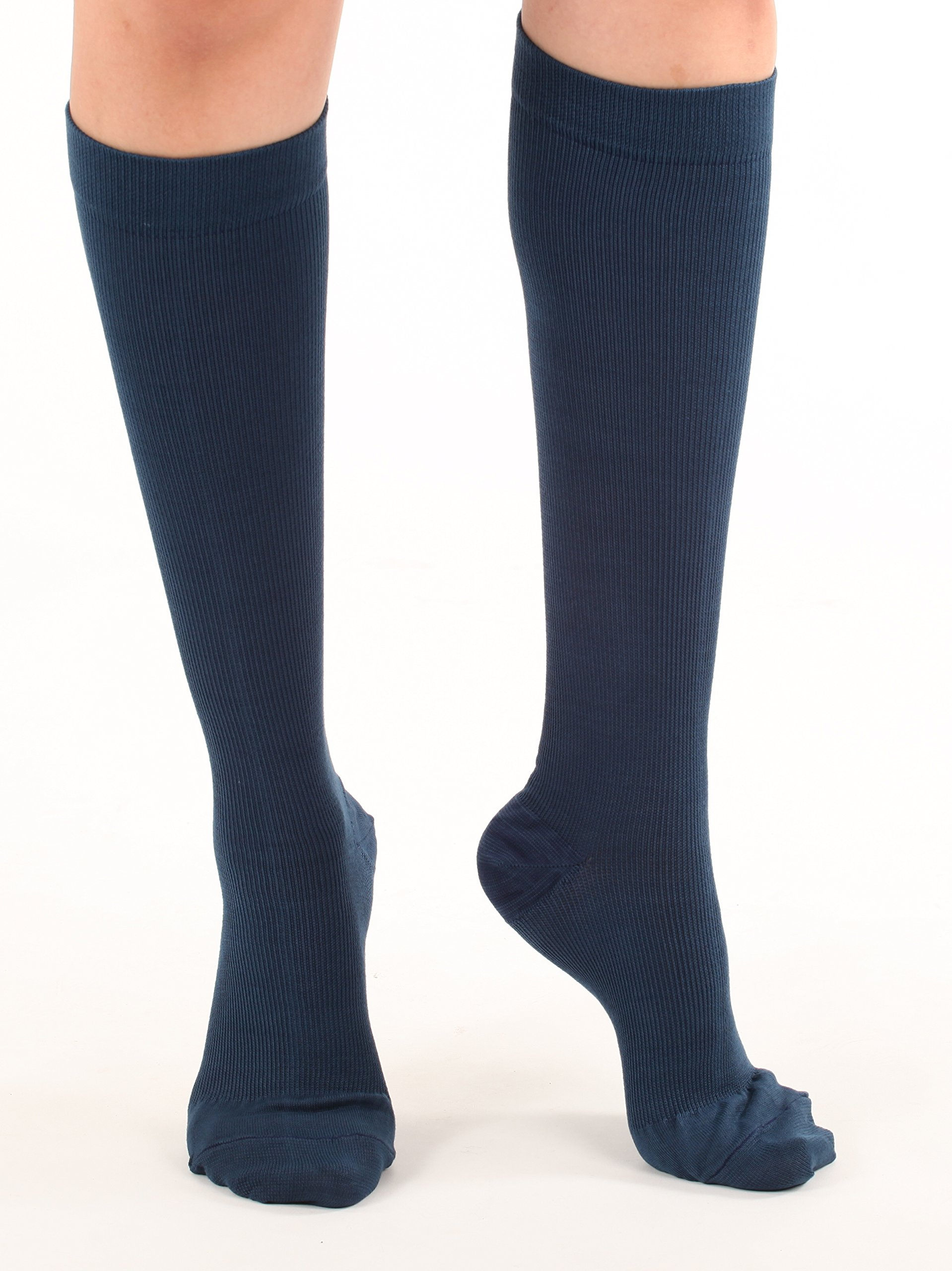Made in The USA - Medical Compression Socks for Men, Firm Graduated Support Socks 20-30mmHg - Closed Toe - 1 Pair - Absolute Support, SKU: A104NV2 (Navy, Medium) - Helps with Poor Circulation, Edema