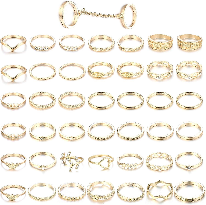 Adramata 43PCS Anillos de nudillo para Mujer Anillos apilables de Dedo Medio en Tono Dorado