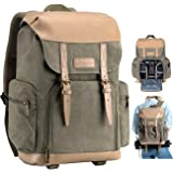TARION Camera Backpack Canvas Bag Photography Backpack Water Repellent DSLR SLR Camera Bag with Rain Cover Mirrorless Camera Video Camcorder Bags DSLR Backpack