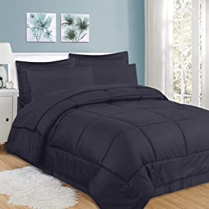 Sweet Home Collection 8 Piece Comforter Set Bag with Checkered Design, Bed Sheets, 2 Pillowcases, 2 Shams Down Alternative All Season Warmth, Queen, Navy