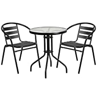 Deals on Flash Furniture 23.75-inch Round Glass Metal Table w/2 Chairs