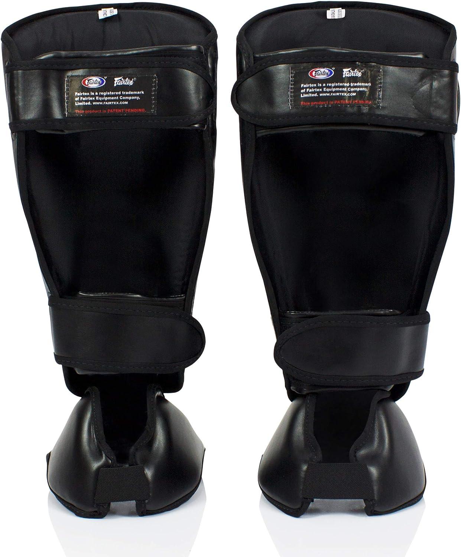 1 Pair GFY Leather Thai Kickboxing Shin Guards Black