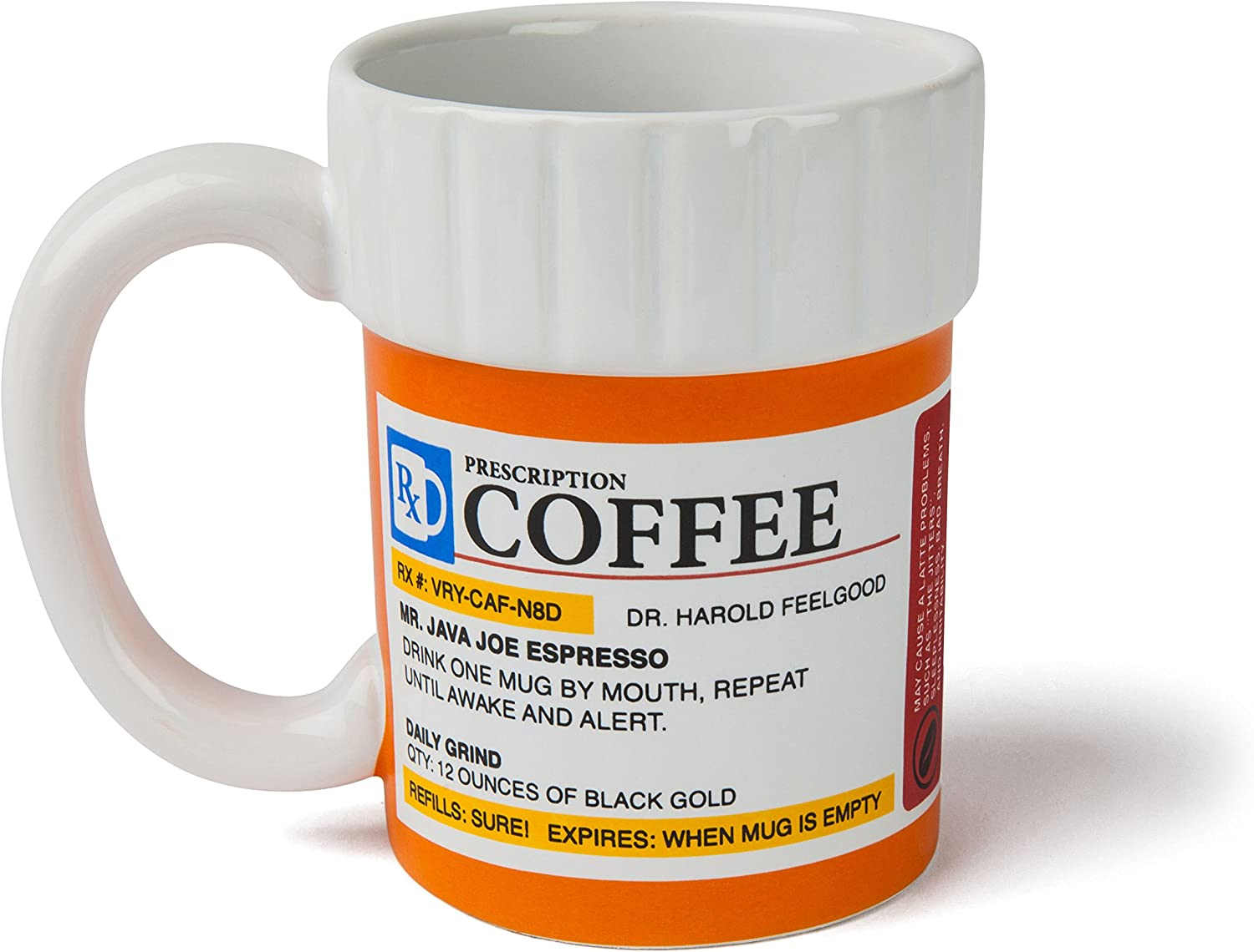 Amazon Com Bigmouth Inc The Prescription Coffee Mug Hilarious 12 Oz Ceramic Coffee Cup In The Shape Of A Pill Bottle Perfect For Home Or Office Makes A Great Gift Kitchen