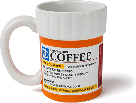 Bigmouth Inc The Prescription Coffee Mug Hilarious 12 Oz Ceramic Coffee Cup In The Shape Of A Pill Bottle Perfect For Home Or Office Makes A Great Gift Kitchen