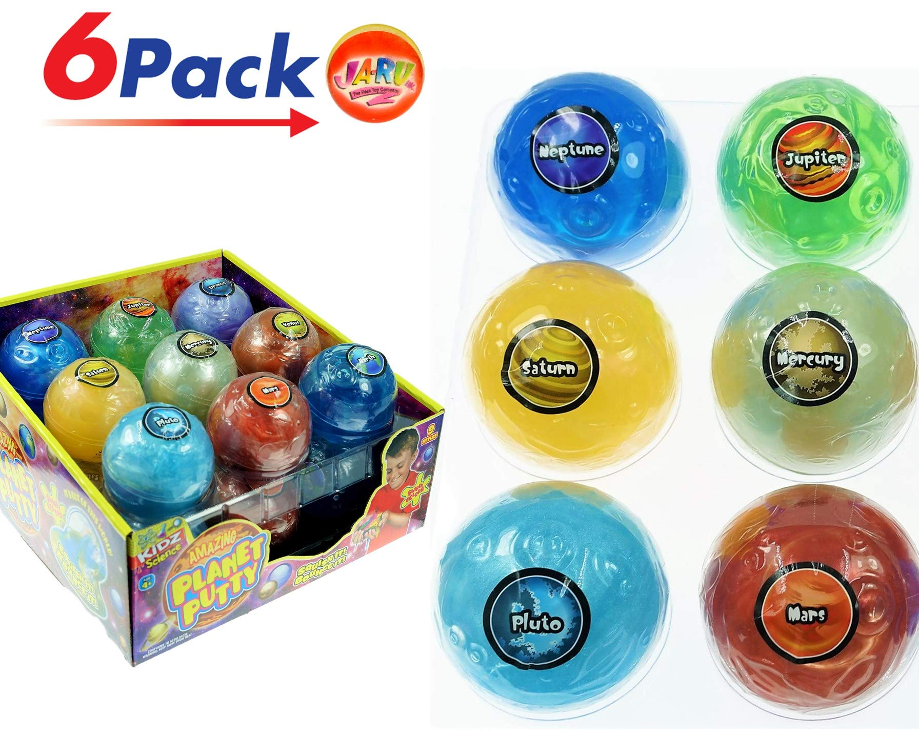 JA-RU Planet Putty Galaxy Solar System Slime (Pack of 6 Planets Assorted) Metallic Colors Fun Educational Science Game Plus 1 Collectable Bouncy Ball. 5459-6p by JA-RU