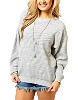 Made by Blush Avenue® Womens Ladies Oversized Baggy Long Thick Knitted Plain Chunky Top Sweater Jumper S-XL