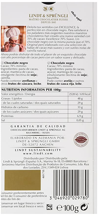 Lindt Excellence Tableta de Chocolate Suave 70% - 100 g ...