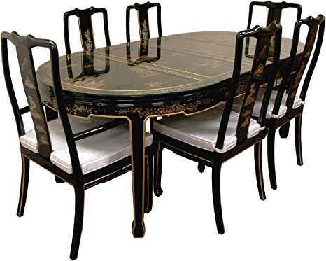 Oriental Furniture Fine Asian Style Dining Room Furniture 82 Inch Ming Lacquer Set With Hand Painted Landscape Design Amazon De Kuche Haushalt