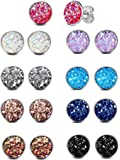 ATIMIGO Stainless Steel Druzy Stud Earrings Set for Girls Women Hypoallergenic Pierced Earrings 9 Pairs